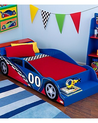 KidKraft Racecar Toddler Bed with Bench - Wood Single Bed