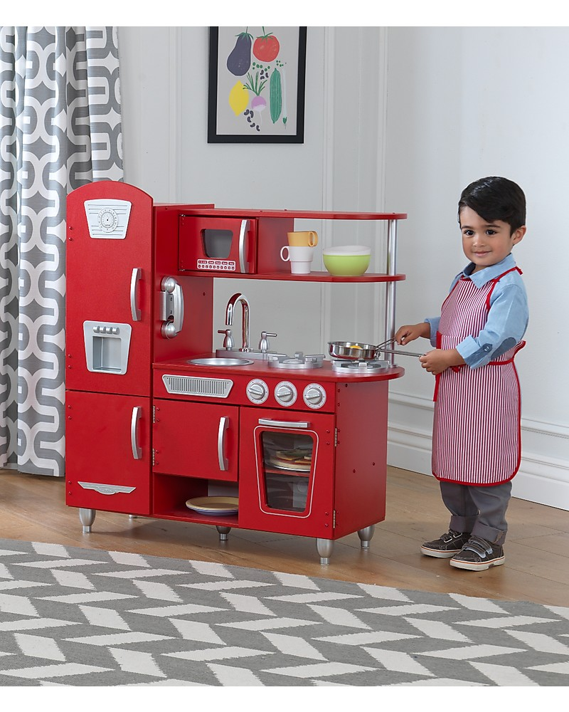Kidkraft Red Vintage Play Kitchen Wood Unisex Bambini