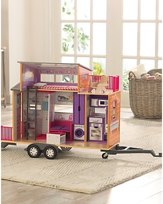 KidKraft Teeny House Dollhouse on Wheels with Pull-Along Hitch - Wood Dolls Houses