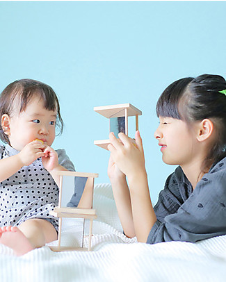 Kiko+ and gg* Ditto, Wooden Cubes with Mirrors! - 9x9x9 cm Wooden Blocks & Construction Sets