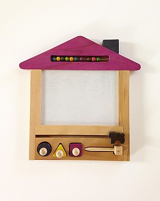 Kiko+ and gg* Magic Drawing Board Oekaki House Cat - Sustainable Beechwood Non-toxic colours - Purple Drawing Boards