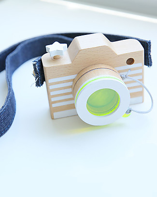 Kiko+ and gg* Toy Camera, Yellow - Includes coloured lens and denim straps! Wooden Blocks & Construction Sets