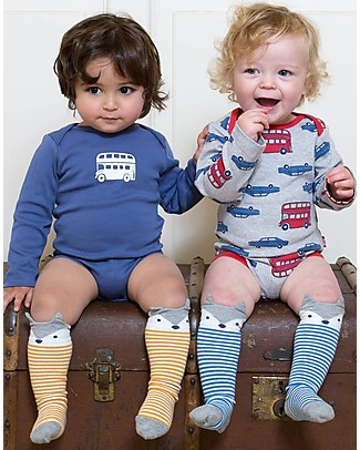 Kite Baby Long Socks, 2-pack - Fox, Blue/Ochre - Organic Cotton Socks