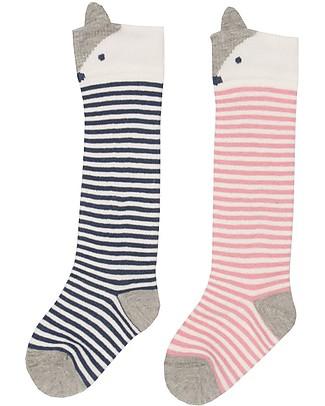 Kite Baby Long Socks, 2-pack - Fox, Pink/Navy - Organic Cotton Socks