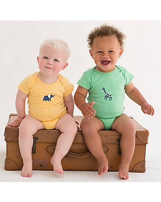 Kite Short Sleeved Elephant Bodysuit, Yellow - 100% organic cotton Rompers