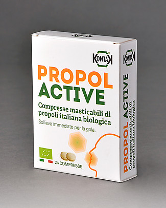 Kontak Propol Active Bio, 24 Organic Italian Propolis Chewable Tablets Natural Remedies