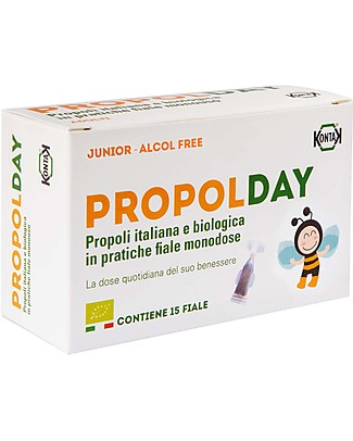 Kontak PropolDay Junior Alcol-Free, 15 vials - Dietary supplement with propolis Natural Remedies