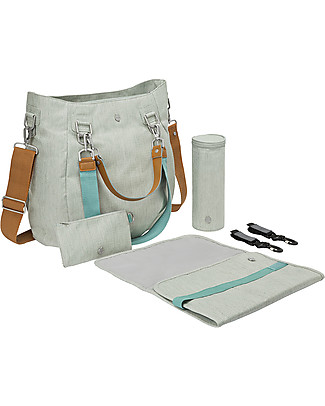 Lässig Green Label Mix'n Match Changing Bag, Light Grey – Lots of accessories, 100% recycled Diaper Changing Bags & Accessories