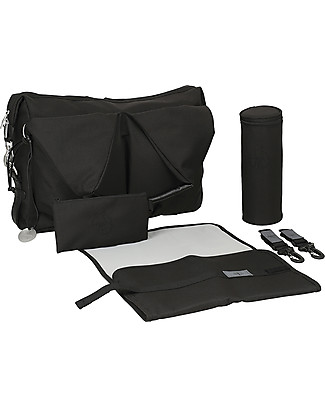 Lässig Neckline Green Label Changing Bag, Black – Lots of accessories, 100% recycled Diaper Changing Bags & Accessories