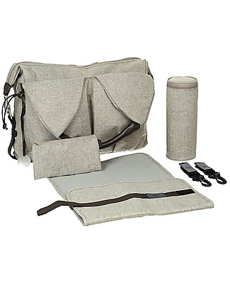 Lässig Neckline Green Label Changing Bag, Choco Melange - Lots of accessories, 100% recycled Diaper Changing Bags & Accessories