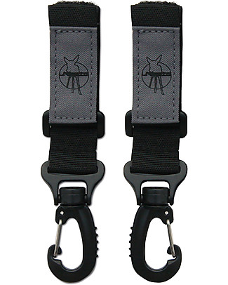 Lässig Stroller Hooks, 2-pack, Black - Hook your changing bag to the stroller in total safety! Diaper Changing Bags & Accessories