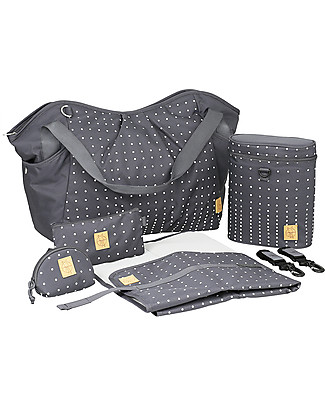 Lässig Twin Changing Bag, Dotted Lines+Ebony - Lots of accessories, 100% recycled Diaper Changing Bags & Accessories