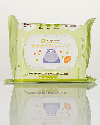La Saponaria Delicate Wipes, 20 pieces - Fragrance-free, 100% biodegradable Baby Wipes