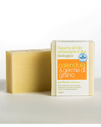 La Saponaria Extra-virgin Olive Oil Soap, Calendula and Wheat Germ, 100 gr - Emollient and soothing Shampoos And Baby Bath Wash