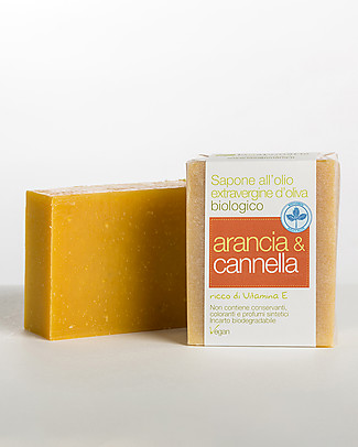 La Saponaria Extra-virgin Olive Oil Soap, Orange and Cinnamon, 100 gr - With Vitamin E  Shampoos And Bath Wash