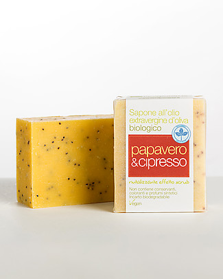 La Saponaria Extra-virgin Olive Oil Soap, Poppy and Cypress, 100 gr - Revitalising, scrub effect Shampoos And Bath Wash