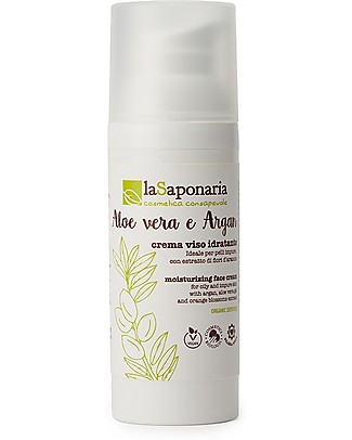 La Saponaria Hydrating Facial Cream Aloe Vera and Argan, 50 ml - Nourishes Combination and Oily Skin Face