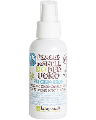 "La Saponaria Organic Deodorant Man ""Peace & No Smell"", Hemp and Sage - 100 ml Deodorant"