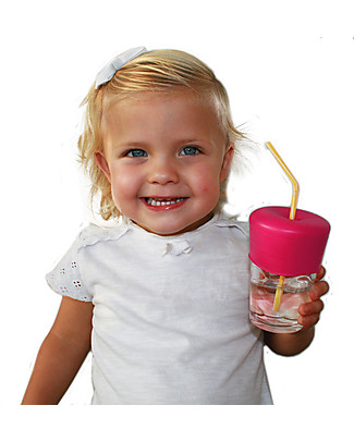 Label Label Universal Sippy Straw Cap, Set of 2 - Pink Sippy Cups