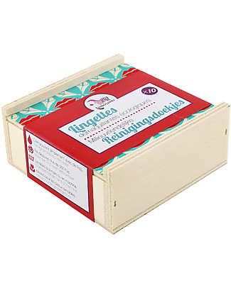 Lamazuna Eco Makeup Remover Wipes with Wooden Box, Pack of 10 - Can be used more than 300 times! Baby Wipes