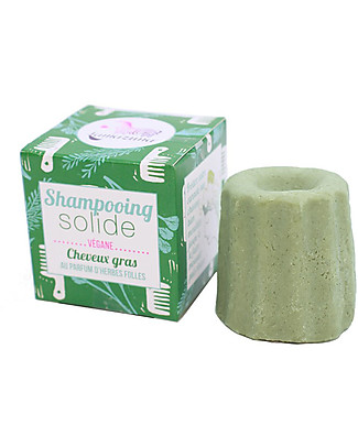 Lamazuna Solid Shampoo for Greasy Hair, Herbs - 55g - Zero Plastic, 100% Natural! Shampoos And Baby Bath Wash