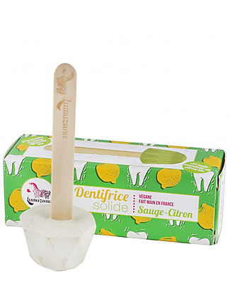 Lamazuna Solid Toothpaste, Sage and Lemon - 17g - Zero Plastic and Zero Waste! Toothpaste and Toothbrush