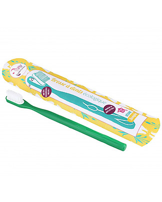 Lamazuna Toothbrush in Bioplastic with Interchangeable Head, Green - Medium Bristles Toothpaste and Toothbrush