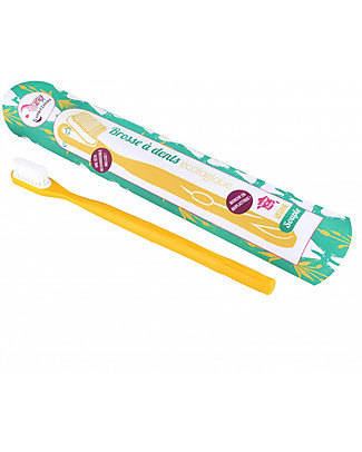Lamazuna Toothbrush in Bioplastic with Interchangeable Head, Yellow - Souple Bristles Toothpaste and Toothbrush