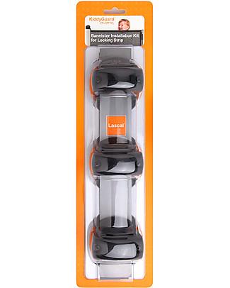 Lascal Kiddiguard Avant Bannister Installation Kit, Locking Strip - Black Stroller Accessories