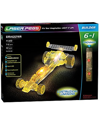 Laser Pegs Dragster 6 in 1 Lighted Construction Set, 82 pieces and 4 LED lights Building Blocks
