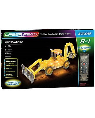 Laser Pegs Excavator 8 in 1 Lighted Construction Set, 129 pieces and 11 LED Building Blocks