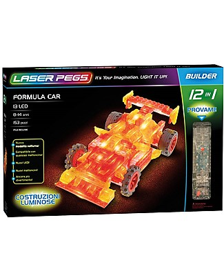 Laser Pegs Formula Car 12 in 1 Lighted Construction Set, 153 pieces and 13 LED lights Building Blocks