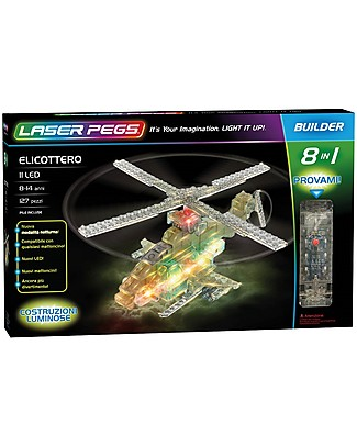 Laser Pegs Helicopter 8 in 1 Lighted Construction Set, 127 pieces and 11 LED lights Building Blocks