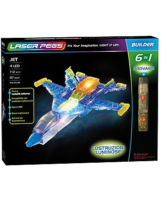 Laser Pegs Jet 6 in 1 Lighted Construction Set, 87 pieces and 4 LED Building Blocks