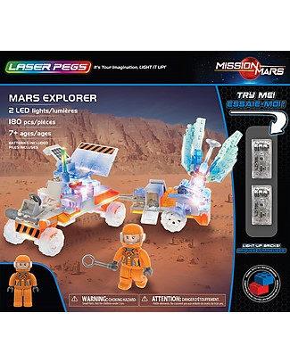 Laser Pegs Mars Explorer Lighted Construction Set, 180 pieces and 2 LED lights Building Blocks