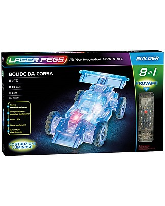 Laser Pegs Race Car 8 in 1 Lighted Construction Set, 111 pieces and 11 LED Building Blocks