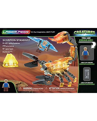 Laser Pegs Scorpion Standoff Lighted Construction Set, 170 pieces and 6 LED lights Building Blocks