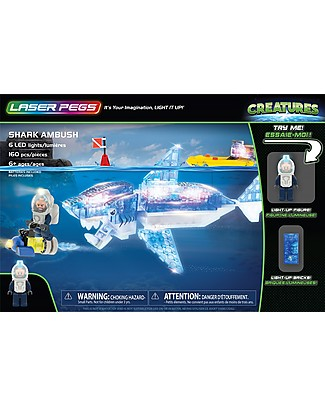 Laser Pegs Shark Ambush Lighted Construction Set, 160 pieces and 6 LED lights Building Blocks