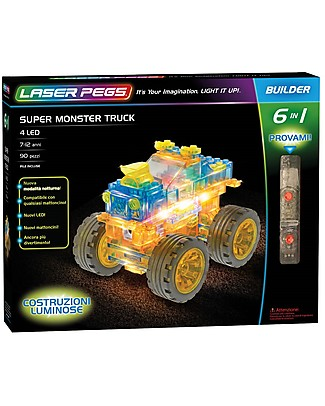 Laser Pegs Super Monster Truck 6 in 1 Lighted Construction Set, 90 pieces and 4 LED Building Blocks