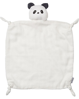 Liewood Agnete Cuddle Cloth, Panda Black & White - 100% Organic Cotton Doudou & Comforters