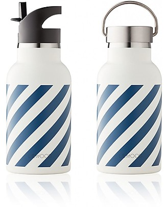 Liewood Anker Water Bottle, Navy & Creme de la Creme Stripes - Stainless Steel Thermos Bottles