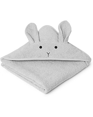 Liewood Augusta Hooded Towel, Rabbit - Dumbo Grey Towels And Flannels