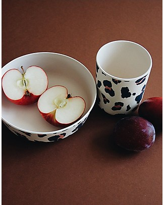 Liewood Bamboo Dinner Set, 4 pieces - Beige Leopard Bowls & Plates