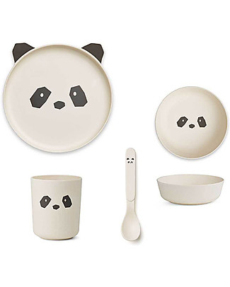 Liewood Bamboo Dinner Set, 4 pieces - Black & White Panda Bowls & Plates
