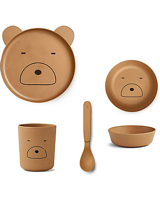Liewood Bamboo Dinner Set, 4 pieces - Mr Bear Moustard Bowls & Plates