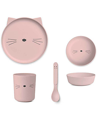 Liewood Bamboo Dinner Set, 4 pieces - Pink Cat Bowls & Plates