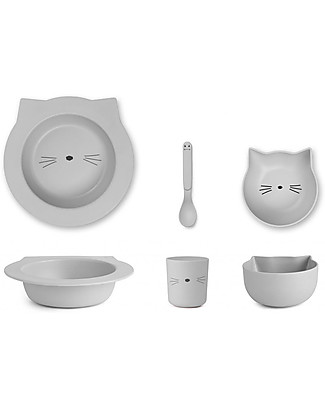 Liewood Barbara, Bamboo Dinner Set, 4 pieces - Pink Cat Bowls & Plates
