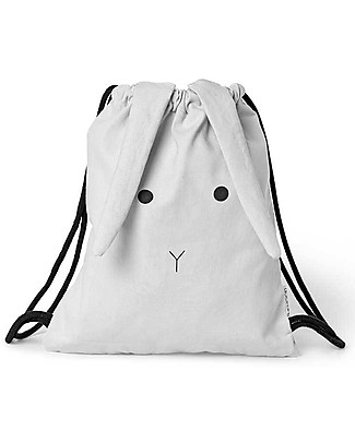 Liewood Gert Gym Bag, Rabbit Dumbo Grey - 100% Organic Cotton Small Backpacks