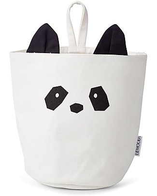 Liewood Hanging Storage Basket 18 x 14,5 cm, Panda Creme de la Creme - 100% Organic Cotton Toy Storage Boxes