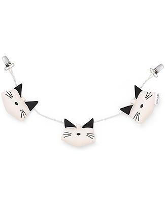 Liewood Holger Pram Chain, Sweet Rose Cat - 100% Organic Cotton Stroller Accessories